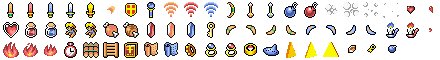 Sprite sheet of items in SNES game Zelda